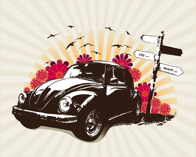 retro classic cars theme illustrations free vector