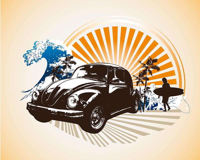 free vector Retro classic cars theme illustrations