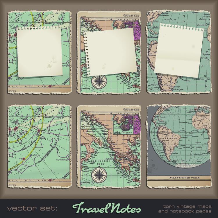 free vector Retro classic map 02 vector