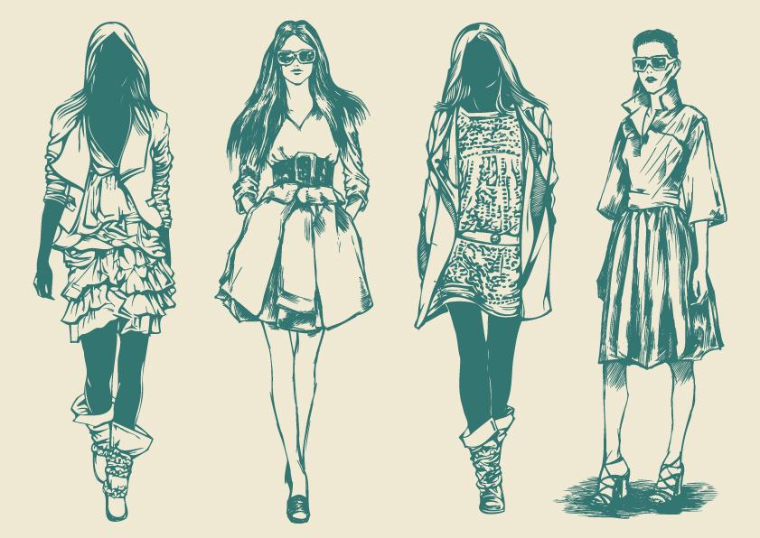 free vector Retro fashion model 01 vector