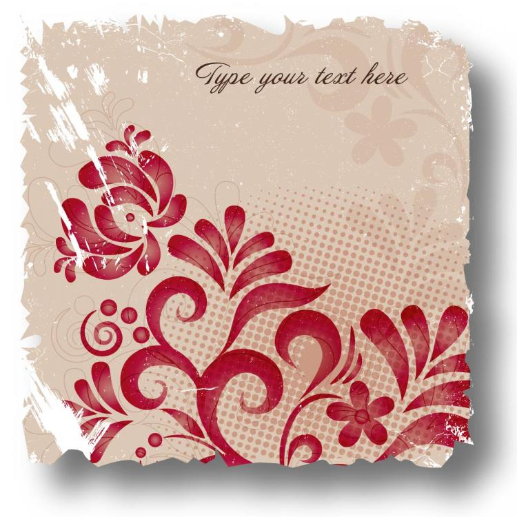 free vector Retro flower card 02 vector