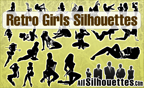 free vector Retro Girls Silhouettes