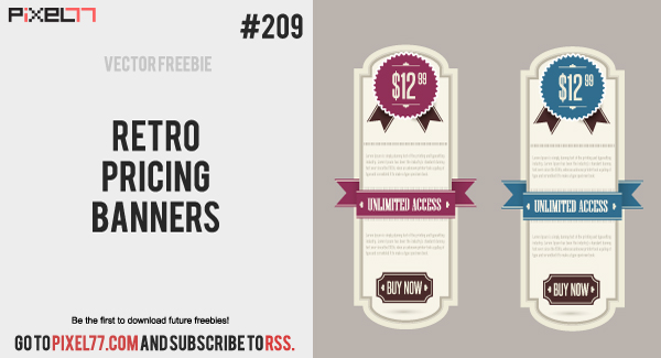 free vector Retro Pricing Banners