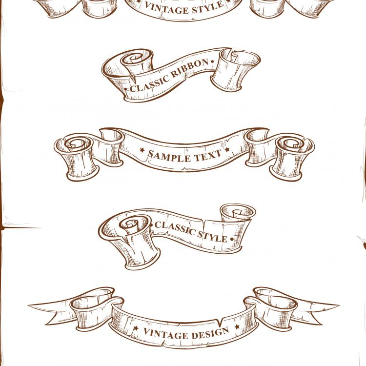 Retro ribbon scroll vector Free Vector / 4Vector
