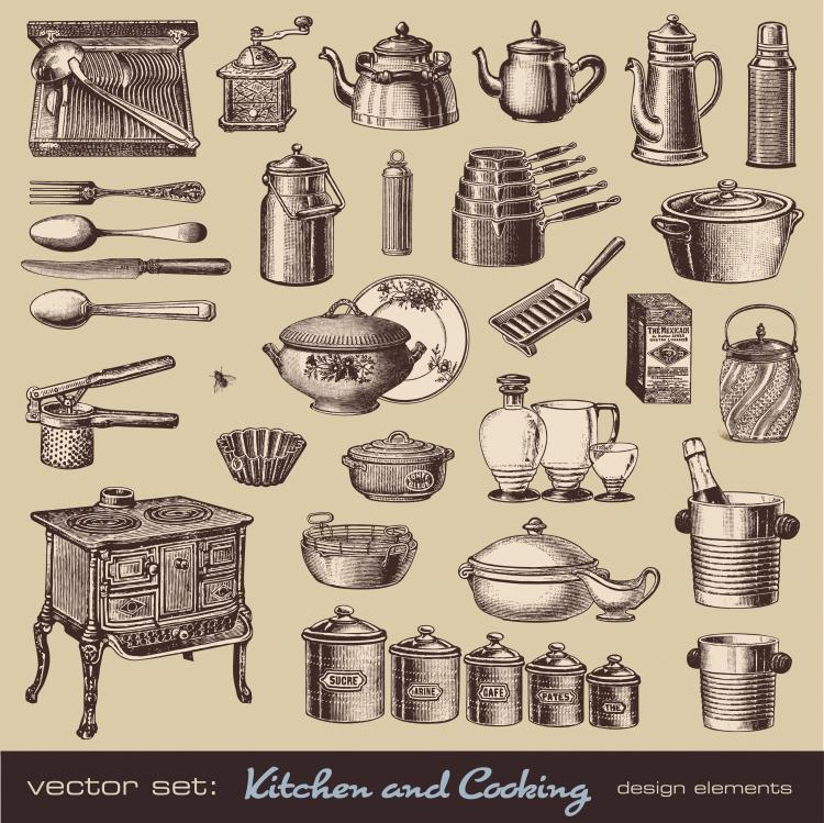 free vector Retro tableware 01 vector