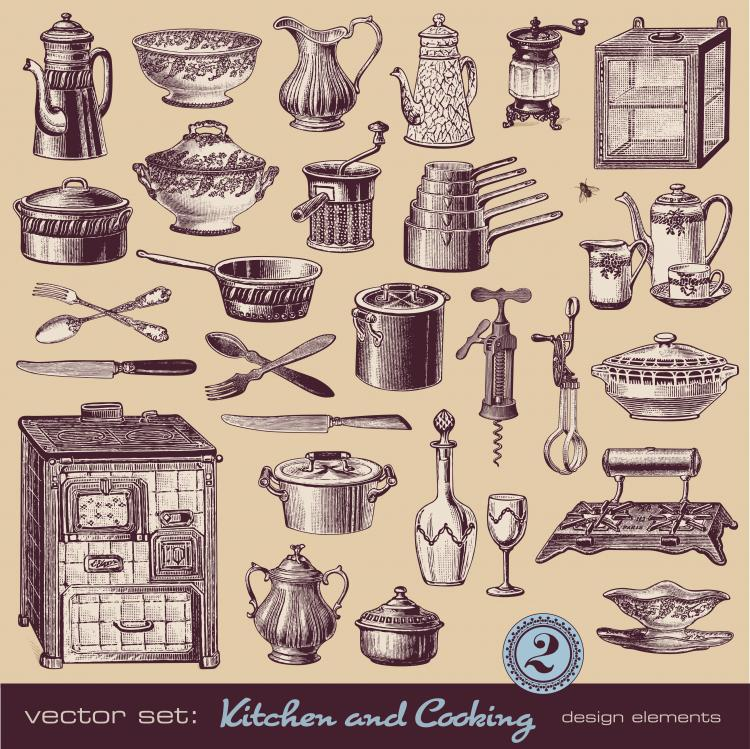free vector Retro tableware 02 vector