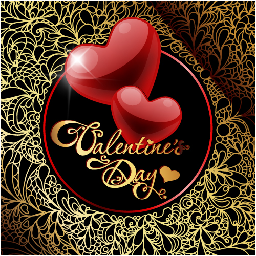 free vector Retro valentine39s day greeting card 01 vector