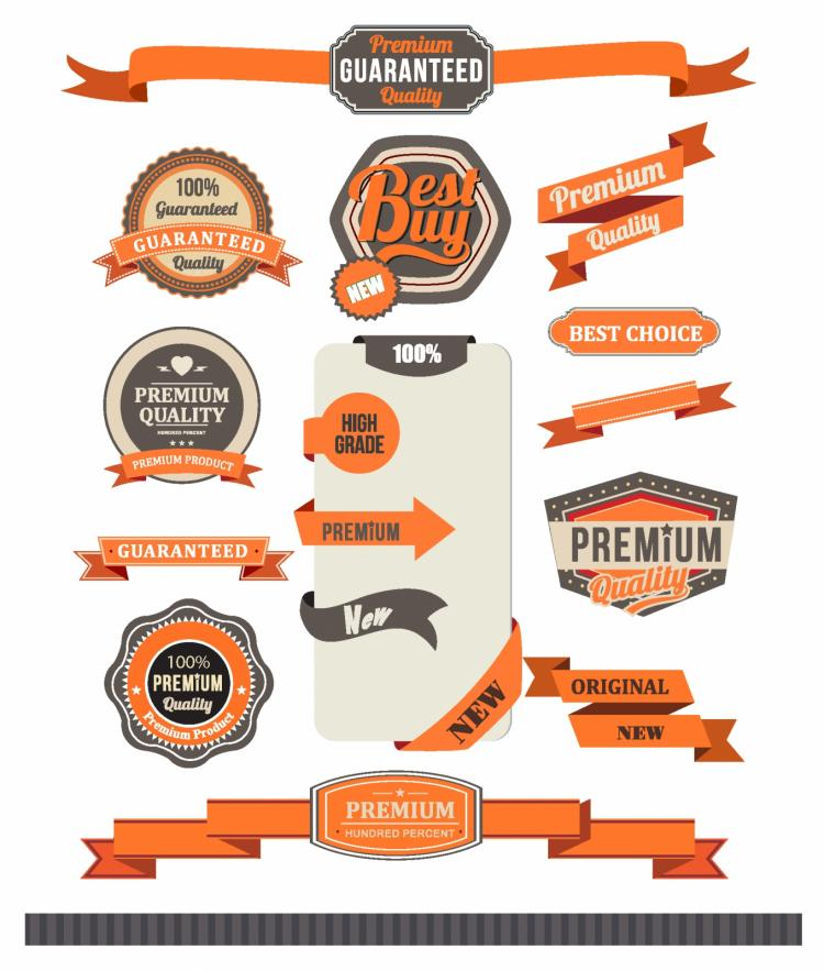 free vector Ribbon and badge set