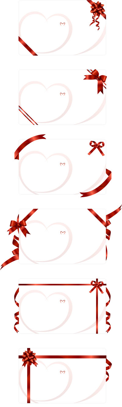 free vector Ribbon tied to the blank card vector