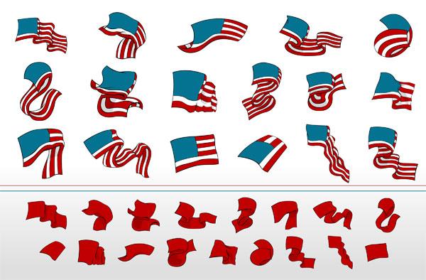 free vector Ribbon vector waving flags