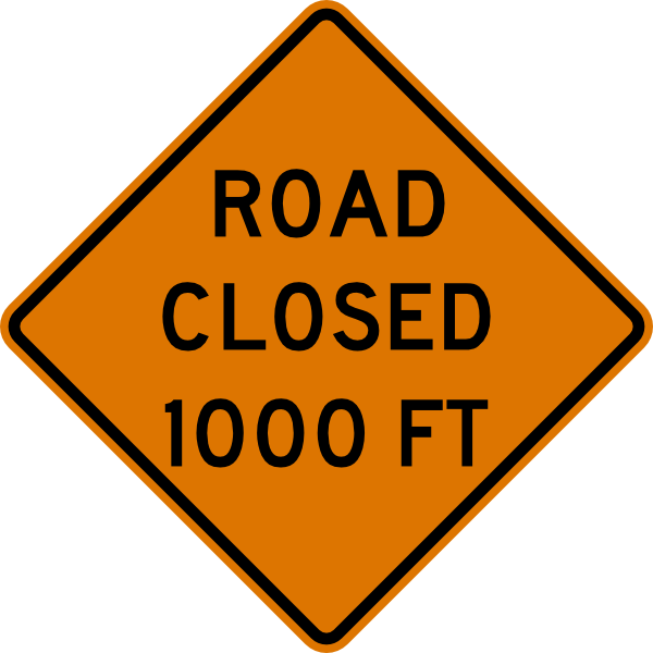 free vector Road Closed Feet Sign clip art