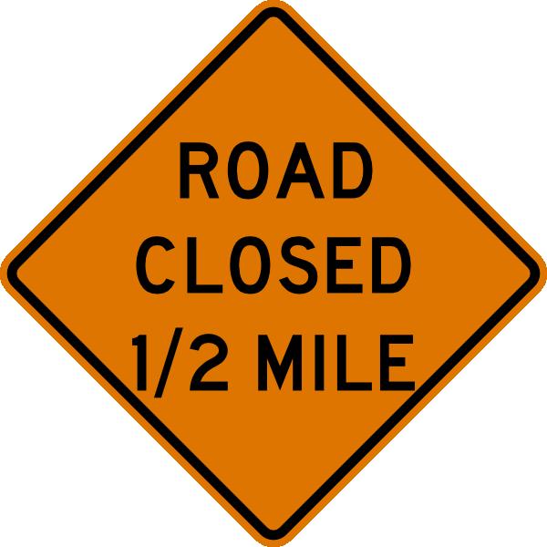 free vector Road Closed Half Mile Sign clip art