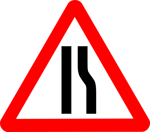 free vector Road Narrows Sign clip art