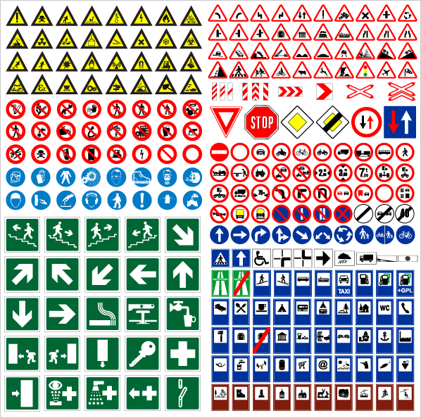 Road Traffic Signs Vector Free Vector 4vector
