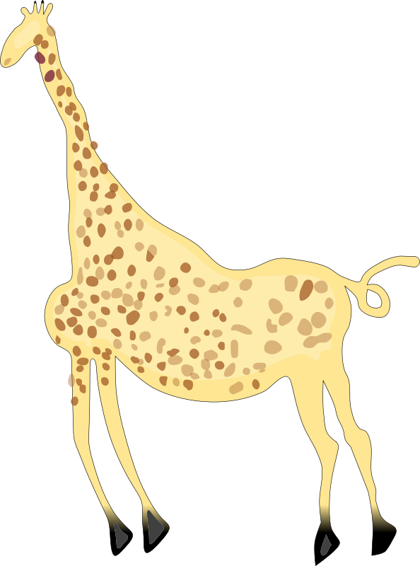 free vector Rock Art Acacus Giraffe - Colored