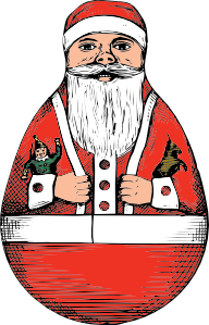 free vector Rolly Polly Santa clip art