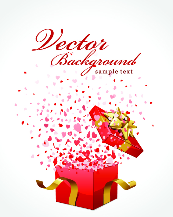 free vector Romantic gift opening moments vector