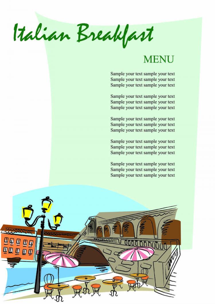 free vector Romantic handpainted menu 02 vector
