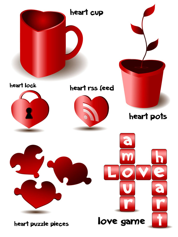 free vector Romantic heartshaped element vector