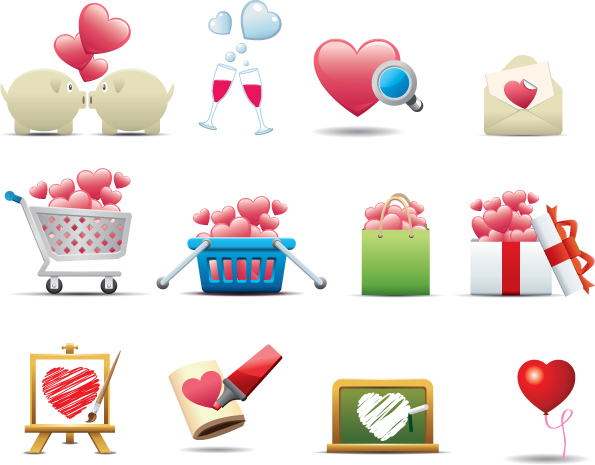 free vector Romantic heartshaped icon 01 vector