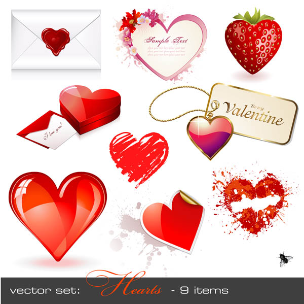 free vector Romantic heartshaped vector