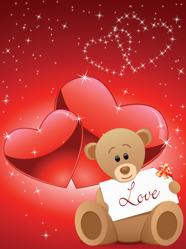free vector Romantic love bear vector
