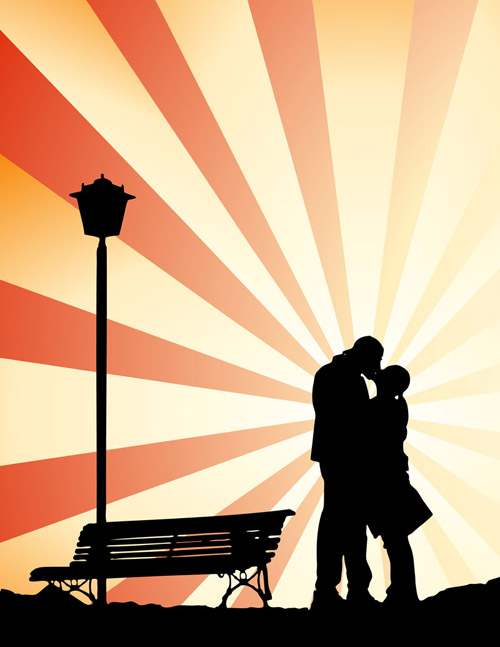 free vector Romantic lovers silhouette vector