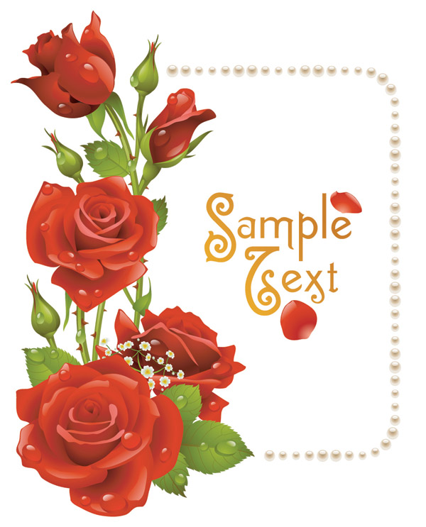 Romantic Roses Greeting Cards Vector Free Vector 4vector