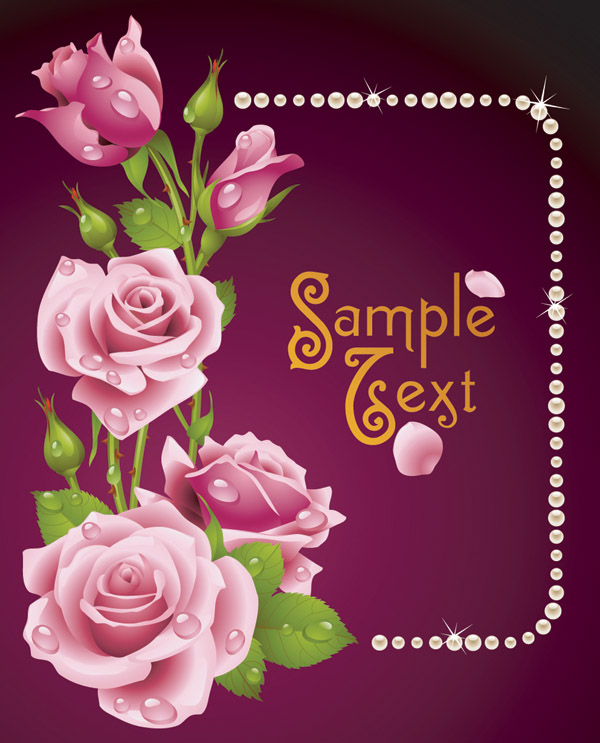 Romantic roses greeting cards vector Free Vector 4Vector – Free E Valentines Cards