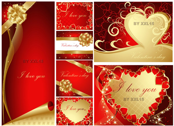 Romantic valentine day greeting card vector Free Vector  4Vector