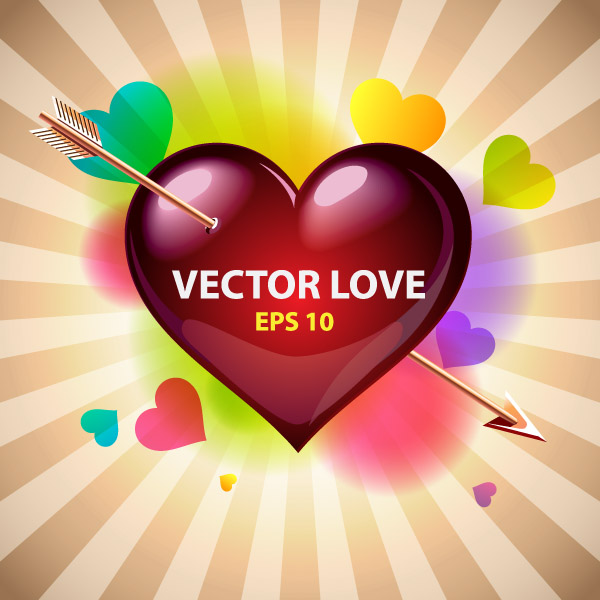 free vector Romantic valentine day greeting card vector