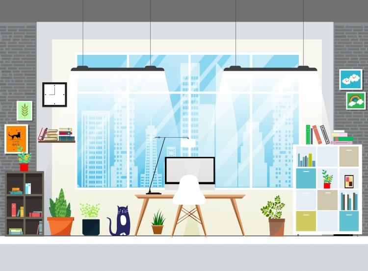 free vector Room decor background furniture icons modern design 133750