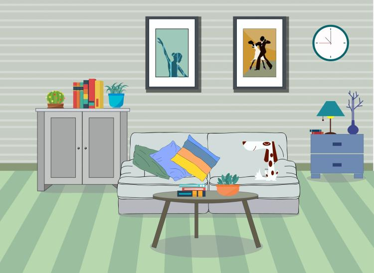 free vector Room decor background furniture icons modern design
