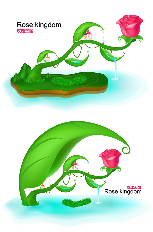 free vector Rose fairytale world original vector