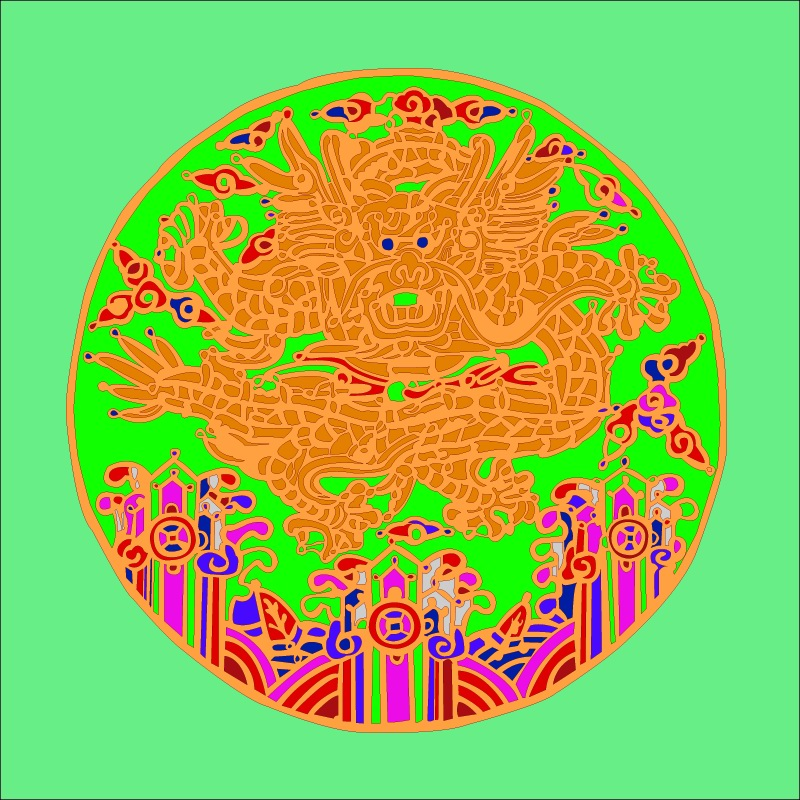 free vector Round dragon chinese classical pattern vector