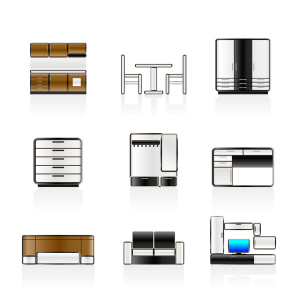 free vector Rounded furniture icon vector