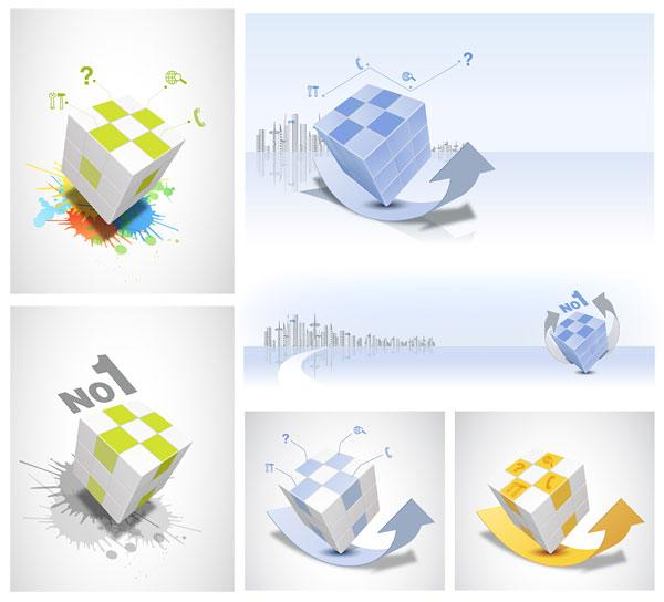 free vector Rubik cube theme vector