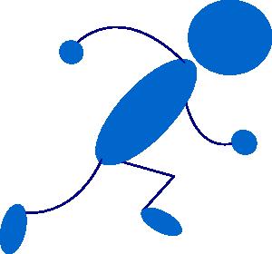 free vector Running Blue Stick Man clip art