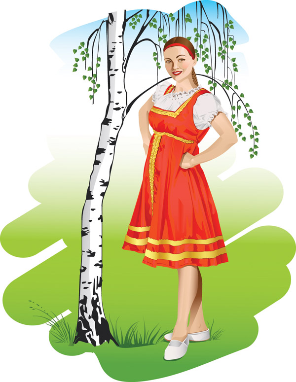 free vector Russian national girls vector
