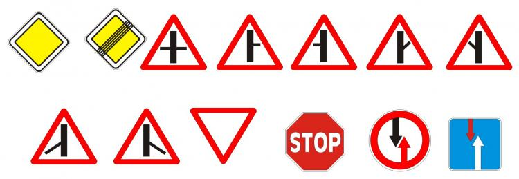 free vector Russian version of the road identification signs vector
