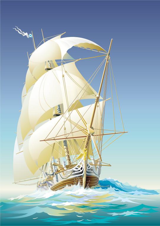Sailing ship sailing boast Free Vector / 4Vector