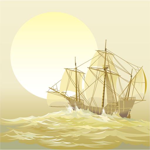 free vector Sailing ship sailing boast