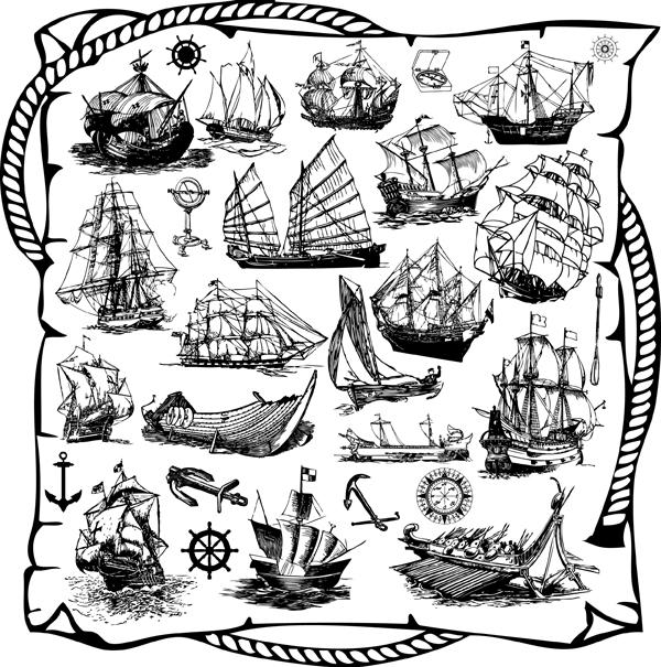 free vector Sailing Ship Theme Vector