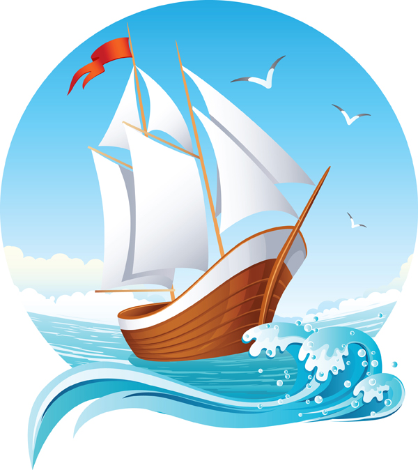Sailing Ship Theme Vector Free Vector / 4Vector