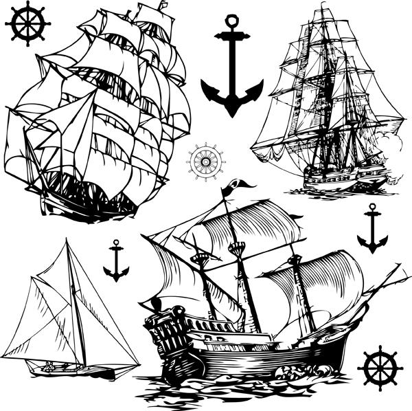 free vector Sailing Ship Theme Vector