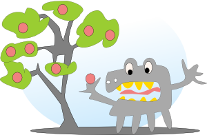free vector Salvor Tree With Apples And A Monster clip art