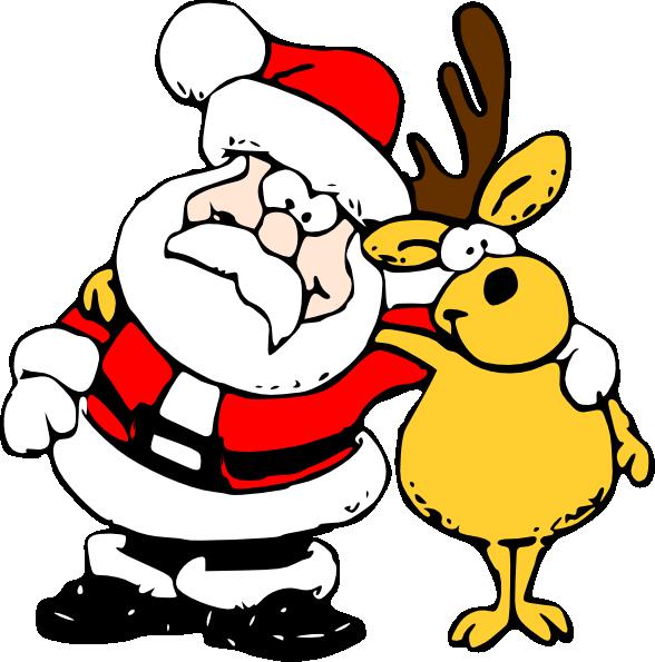 free vector Santa And Reindeer clip art