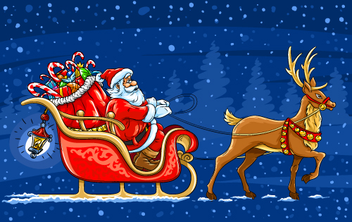 free vector Santa claus and elk vector