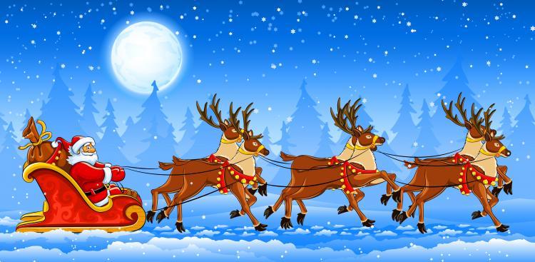 Santa claus and elk vector Free Vector / 4Vector