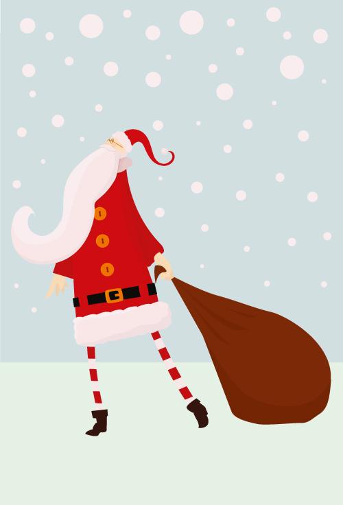 free vector Santa claus and gift bags vector